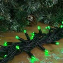 """Гирлянда """"Нить"""" уличная УМС 10 м, каучук LED-100-220V, 3W, нить тёмная, свечение зелёное"""