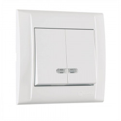 Выключатель 2 с/п с подсветкой  белый Makel DEFNE